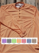 Cowboy Shirt Gambler Stripe with Button Cuffs / Pocket